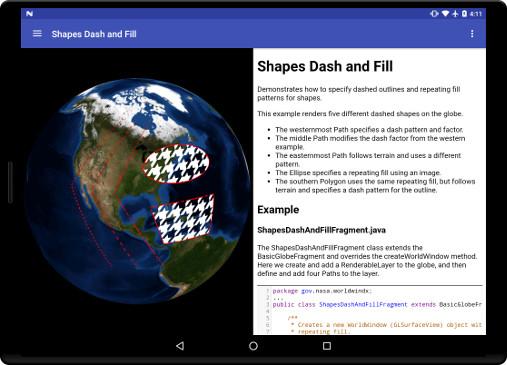 Shapes Dash and Fill-WorldWind Android/NASA WorldWind